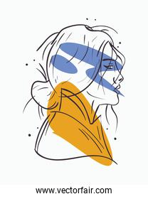 sexy woman cartoon with blue and yellow colors vector design