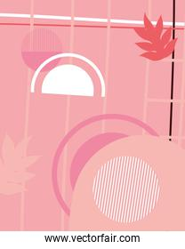 background with pink shapes and leaves, colorful design