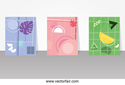 three colorful and abstract covers