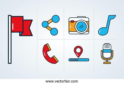 flag and social media icon set, line and fill style