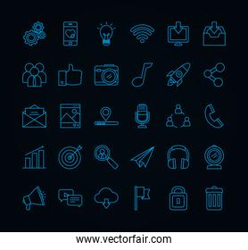 social media icons collection, line style