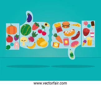 healthy and unhealthy food design with hand with thumbs up and down, colorful design