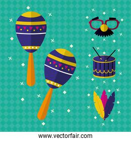 maracas and carnival icon set, colorful design