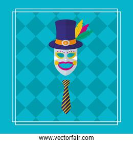 carnival mask, top hat and tie, colorful design