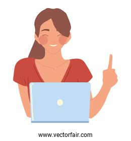 woman working with laptop computer, vector design