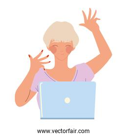 happy woman working with laptop device, vector design