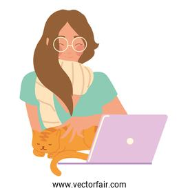 woman working with laptop and cat, vector design