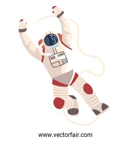 astronaut in spacesuit character space detailed vector icon