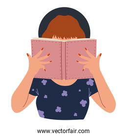 woman with book   learning and reading character