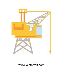 fracking tower with cabin and oil drill