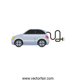 electric car with charger cable plug ecological