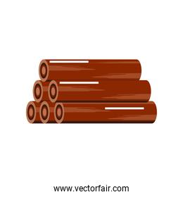 wooden material used for fuel, white background