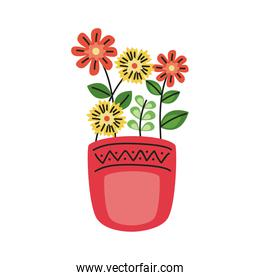 beautiful flowers and leafs garden decoration in pot