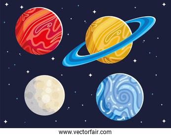 space astronomy galaxy planets and moon
