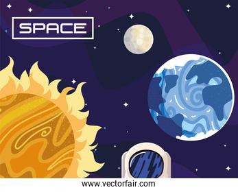 space astronomy sun moon and earth planet cosmos