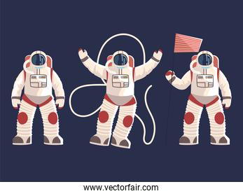 astronauts character in spacesuits helmet uniform with flag space