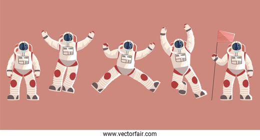 space explorer, cosmonaut or astronaut in spacesuit characters