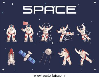 space astronaut character in spacesuit satellite spaceship
