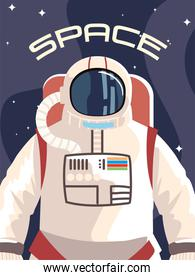 space astronaut character in spacesuit discovering outer
