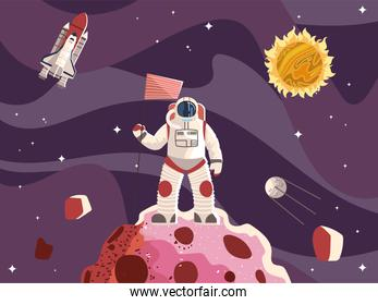 space astronaut with flag surface planet spaceship sun and moon