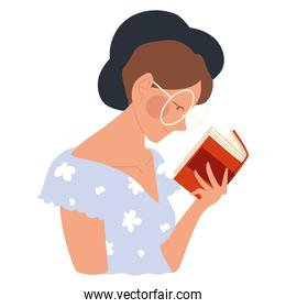 woman with glasses reading a book, vector design