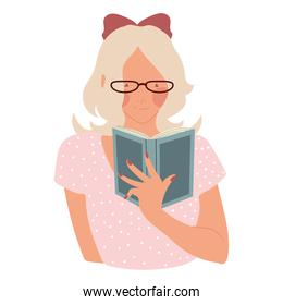 blonde woman wearing glasses reading book