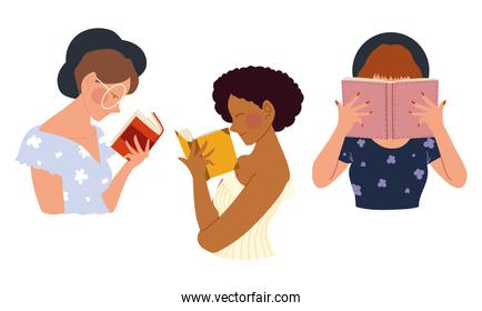 young women characters with books read