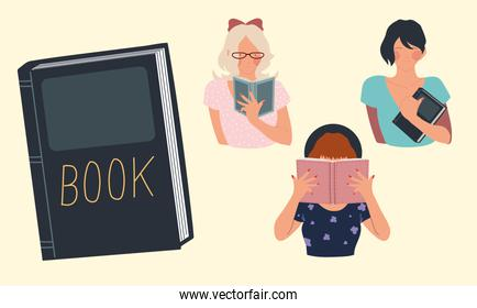 read book, women portrait books education learning and reading