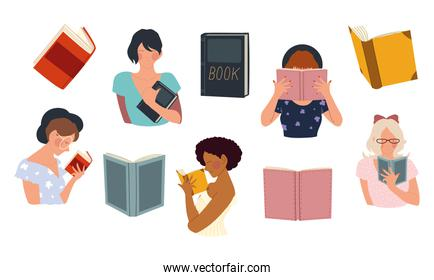 women hold a book in their hands, reading concept