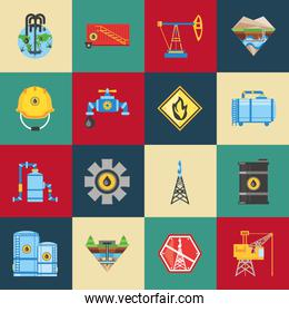 fracking oil extraction hydraulic technology icons