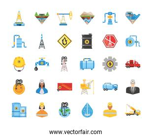 fracking industry resource oil gas exploration icons