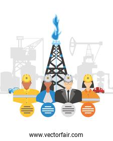 fracking oil tower rig industry and workers characters