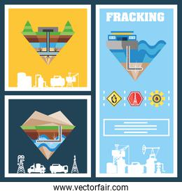 fracking process with machinery equipment, hydraulic fracturing schematic