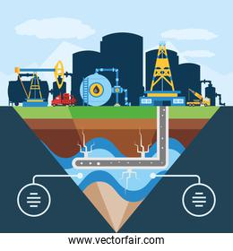 fracking schematic diagram of hydraulic well for oil reservoir
