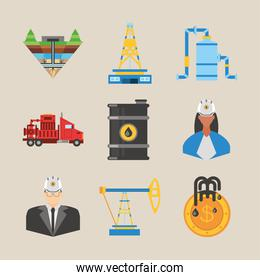 fracking, tower oil rig truck barrel and workers icons