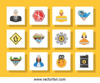 fracking, warning caution workers production petroleum icons