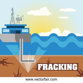 fracking hydraulic process with drilling rig and fuel