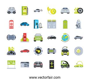 electric car icon set with charger station, battery power and plug