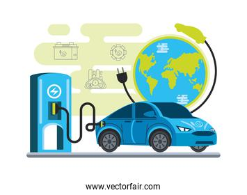 electric car charging at the station with a plug in world ecological