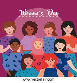 happy womens day lettering card with interracial girls