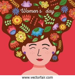 international womens day lettering card in the woman hair with floral decoration