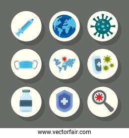 bundle of nine covid19 virus vaccine set icons