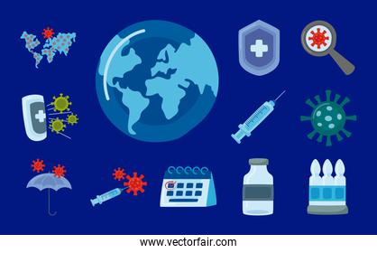 bundle of covid19 virus vaccine set icons in blue background