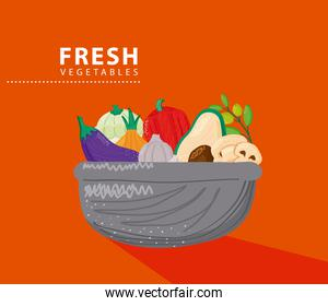 bowl with fresh vegetables healthy food