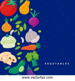 pattern of vegetables healthy food in blue background