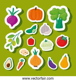 pattern of vegetables healthy food in green background
