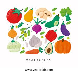 pattern of vegetables healthy food in white background