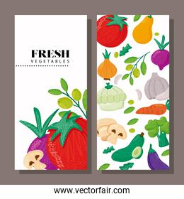 pattern of vegetables healthy food in banner and lettering