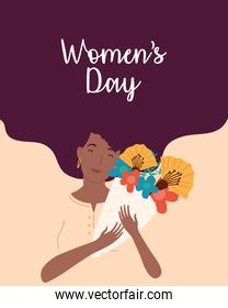womens day lettering with afro woman lifting flowers bouquet