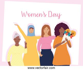 womens day lettering with group of interracial girls characters